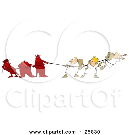 Clipart Illustration of Three Bad Devils Playing Tug Of War With Three Good Angels by djart