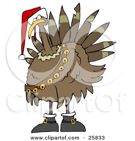 Clipart Illustration of a Festive Turkey Bird In A Santa Hat, Boots And Jingle Bells by djart