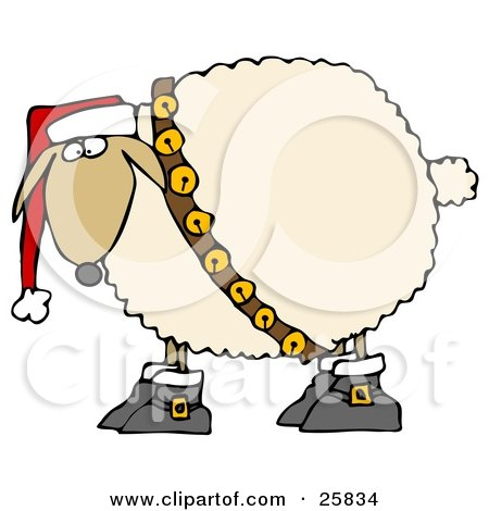 Clipart Illustration of a Festive White Sheep In Boots, Jingle Bells And A Santa Hat by djart