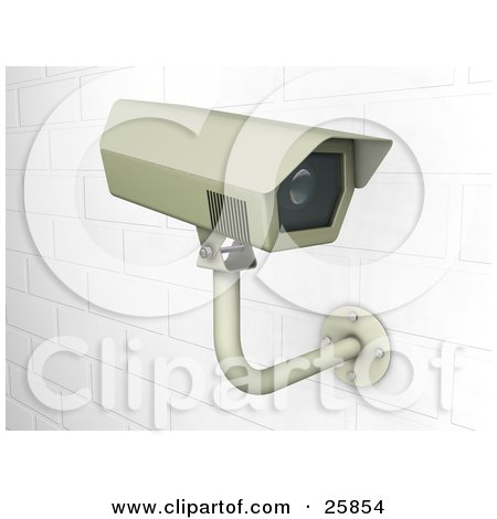 Clipart Illustration of a Surveillance Camera Mounted On A White Brick Wall by KJ Pargeter