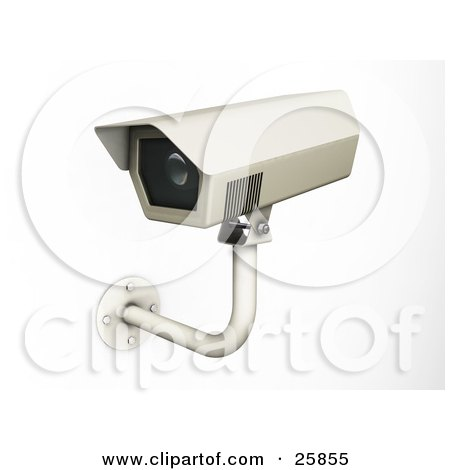 Clipart Illustration of a Wall Mounted Security Camera Viewing Daily Life, Over White by KJ Pargeter
