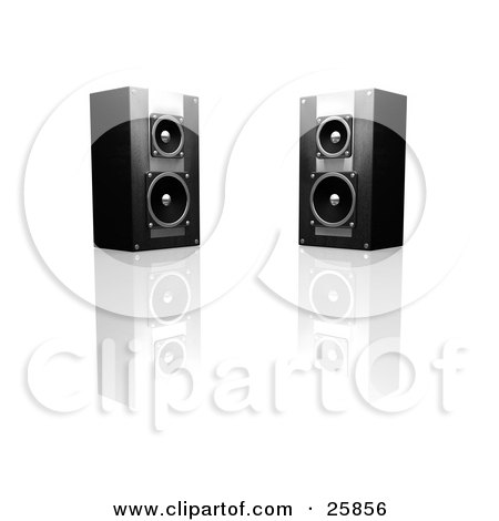 Clipart Illustration of Two Black And Silver Radio Speakers Facing Slightly Towards Each Other, On A Reflective White Surface by KJ Pargeter
