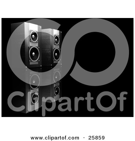 Clipart Illustration of a Pair Of Black Speakers Side By Side, Facing Right, On A Reflective Black Surface by KJ Pargeter