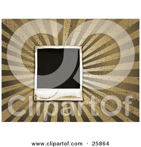 Clipart Illustration of a Blank Polaroid Photograph Over A Bursting Tan And Brown Grunge Background With Scratches by KJ Pargeter