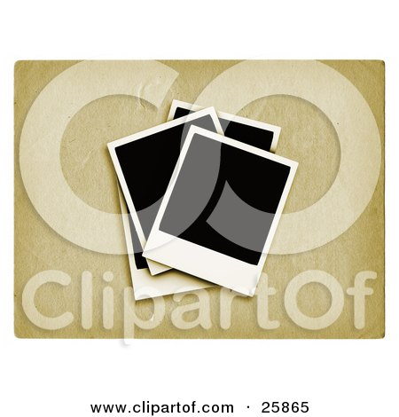 Clipart Illustration of Four Blank Polaroid Photos On A Textured Background by KJ Pargeter
