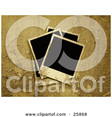 Clipart Illustration of Four Blank Polaroid Photographs With A Grungy Peeling Background by KJ Pargeter
