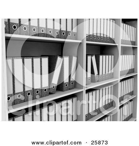 Clipart Illustration of Rows Of Binders With Blank Labels, Archived On A Bookshelf by KJ Pargeter