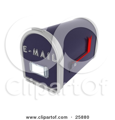 Clipart Illustration of a Blue Email Inbox With A Red Flag, Over White by KJ Pargeter