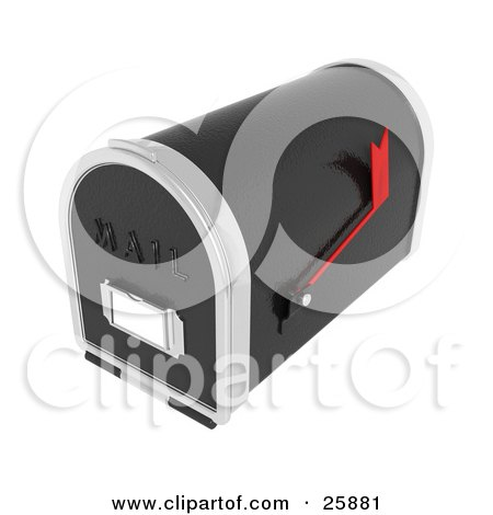 Clipart Illustration of a Black And Silver Mailbox With A Red Flag, Over White by KJ Pargeter