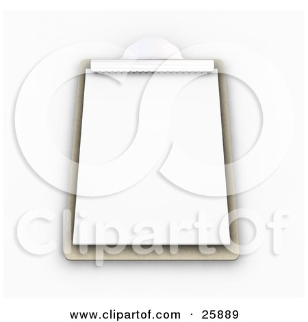 Clipart Illustration of a Wooden Clipboard With A Blank Sheet Of Paper, On White by KJ Pargeter