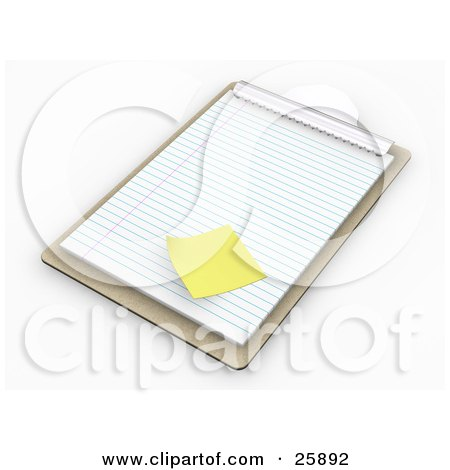 Clipart Illustration of a Wooden Clipboard With A Blank Sheet Of ...