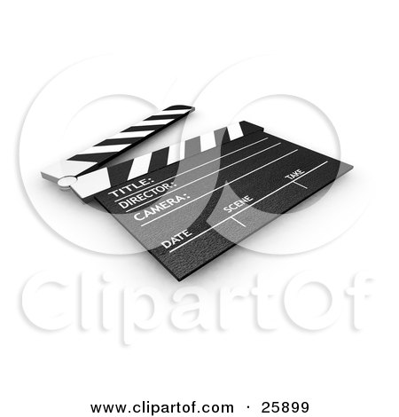 Clipart Illustration of a Movie Director's Black And White Clapperboard With The Top Up, Resting On A Surface by KJ Pargeter