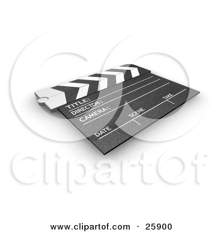 Clipart Illustration of a Movie Director's Slate Board Resting On A White Surface by KJ Pargeter