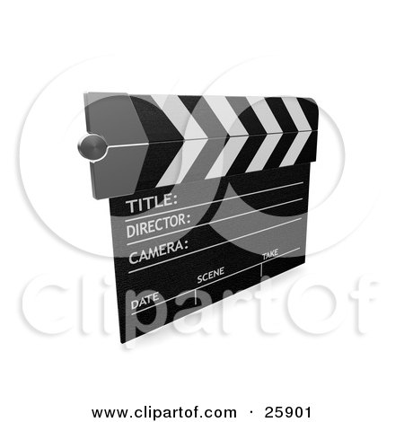 Clipart Illustration of a Movie Director's Clapperboard Over White by KJ Pargeter