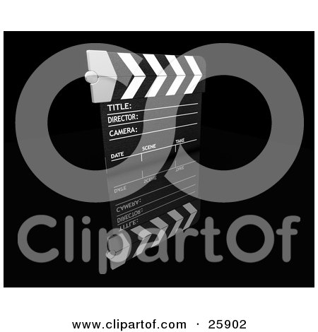 Clipart Illustration of a Movie Director's Clapboard On A Reflective Black Surface by KJ Pargeter