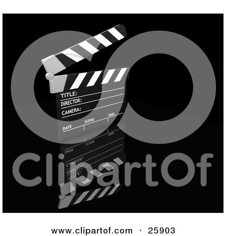 Clipart Illustration of a Movie Director's Black And White Slate Board With The Top Up, Over A Black Reflective Surface by KJ Pargeter