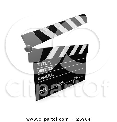 Clipart Illustration of a Movie Director's Black And White Clapper With The Top Up, Over White by KJ Pargeter
