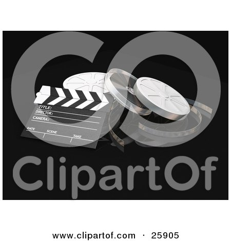Clipart Illustration of a Clapperboard And Film Reel Cans Over Black by KJ Pargeter