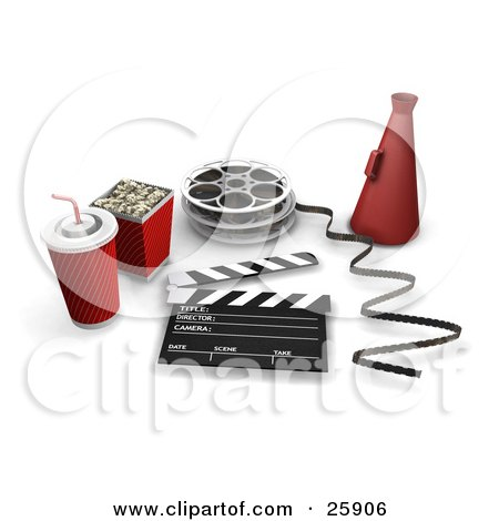 Clipart Illustration of Movie Popcorn, Soda, Film Reels, Director's Cone, And A Clapperboard, Over White by KJ Pargeter