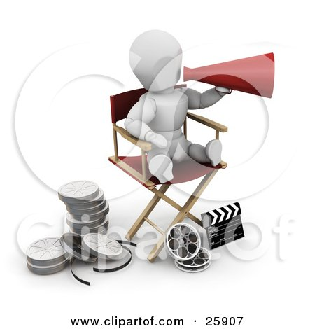 Clipart Illustration of a White Character Shouting Through A Cone While Sitting In A Director's Chair With Film Reels And A Clapperboard On The Ground by KJ Pargeter