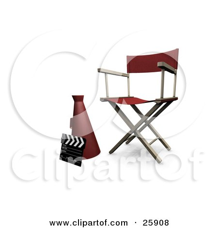 Clipart Illustration of a Clapperboard, Megaphone And Director's Chair In A Studio, Over White by KJ Pargeter