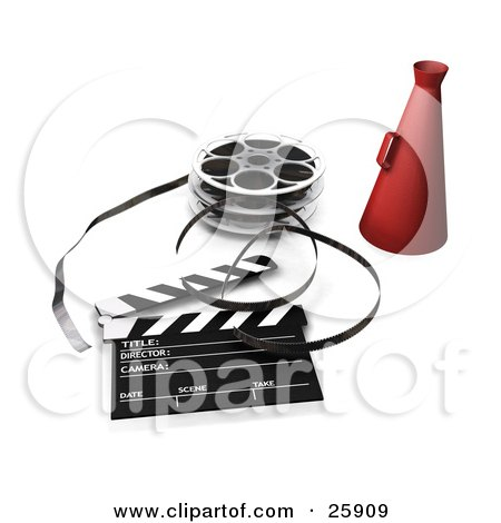 Clipart Illustration of a Red Directors Cone, Film Reels And A Clapperboard On White by KJ Pargeter
