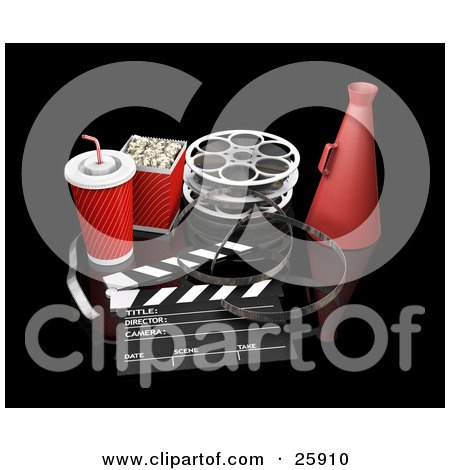 Clipart Illustration of Movie Popcorn, Soda, Film Reels, Megaphone, And A Clapperboard, Over Black by KJ Pargeter