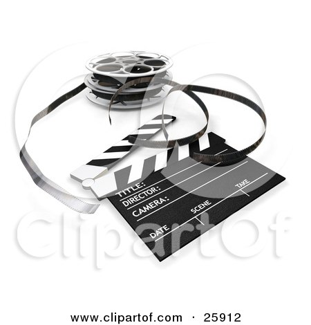 Clipart Illustration of Film Emerging From A Reel, Resting Beside A Clapper Board by KJ Pargeter