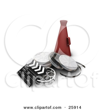 Clipart Illustration of a Clapboard, Film Reels And Red Directors Cone On White by KJ Pargeter