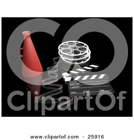 Clipart Illustration of a Film Reel, Loud Hailer And Clapperboard Over Black by KJ Pargeter