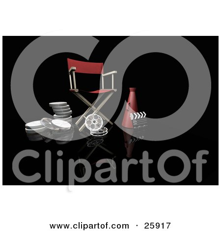 Clipart Illustration of a Red Director's Chair, Megaphone, Film Reels And Clapperboard, On Black by KJ Pargeter