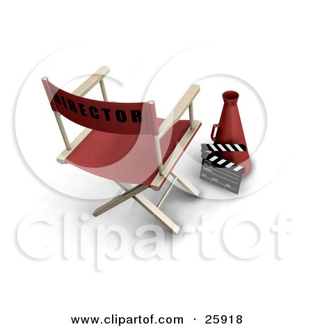 Clipart Illustration of a Red Director's Chair With A Loud Hailer Cone And Clapper by KJ Pargeter