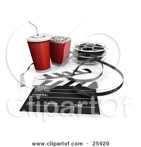 Clipart Illustration of Movie Popcorn, Soda, Film Reels And A Clapperboard, Over White by KJ Pargeter