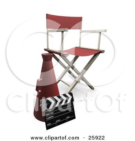 Clipart Illustration of a Red Cone, Clapper And Directors Chair In A Filming Studio by KJ Pargeter