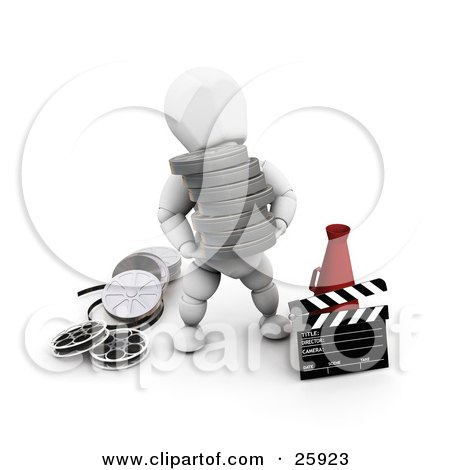 Clipart Illustration of a White Character Carrying Film Reels Past A Director's Cone And A Clapper by KJ Pargeter