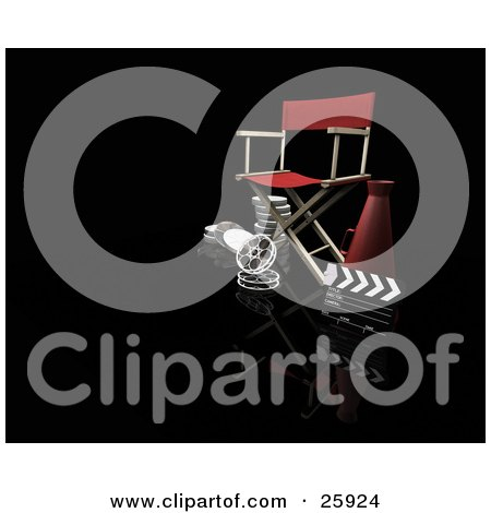 Clipart Illustration of a Red Director's Chair, Loud Hailer, Film Reels And Clapperboard, On Black by KJ Pargeter