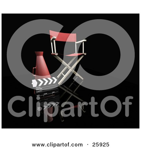 Clipart Illustration of a Clapper And Loud Hailer Beside A Director's Chair, Over Black by KJ Pargeter