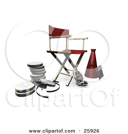 Clipart Illustration of a Red Director's Chair, Loud Hailer, Film Reels And Clapperboard, On White by KJ Pargeter