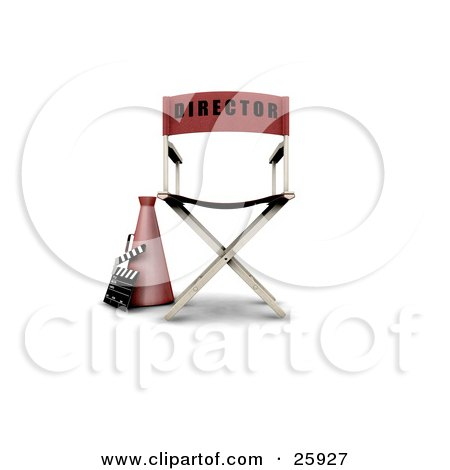 Clipart Illustration of a Loud Hailer Cone, Clapperboard And Red Movie Director's Chair On White by KJ Pargeter