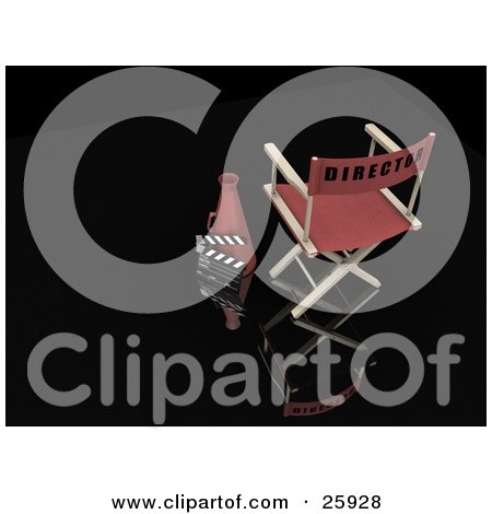Clipart Illustration of a Director's Chair And Cone With A Clapper Board, Over Black by KJ Pargeter