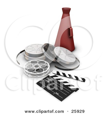 Clipart Illustration of a Red Directors Cone Resting Behind Film Reels And A Clapperboard, Over White by KJ Pargeter