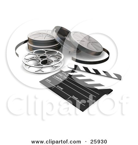 Clipart Illustration of Film, Reels And A Clapboard On A White Surface by KJ Pargeter