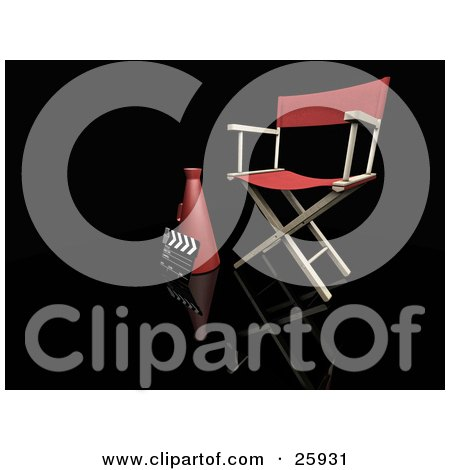 Clipart Illustration of a Clapperboard, Megaphone And Director's Chair In A Studio, Over Black by KJ Pargeter