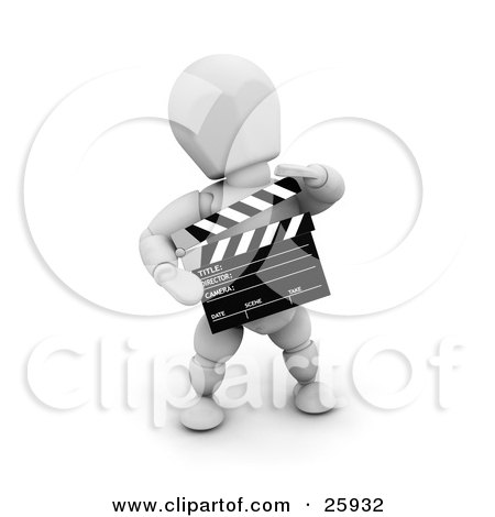 Clipart Illustration of a White Character Preparing For Another Movie Take, Holding A Clapperboard by KJ Pargeter