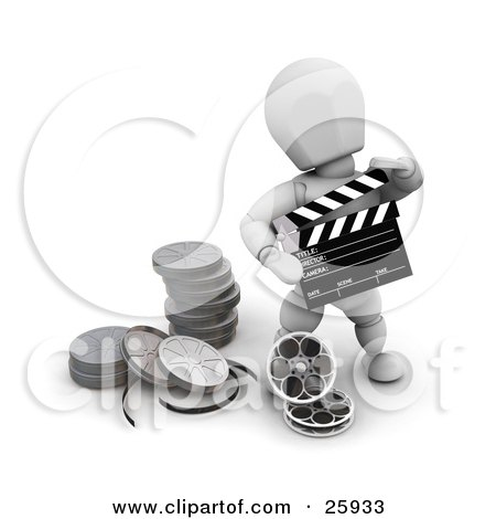 Clipart Illustration of a White Character Holding A Clapper And Standing With Film Reels At His Feet by KJ Pargeter