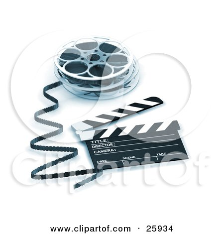 Clipart Illustration of Film Emerging From A Reel, Resting Beside A Clapper Board, Blue Toning by KJ Pargeter