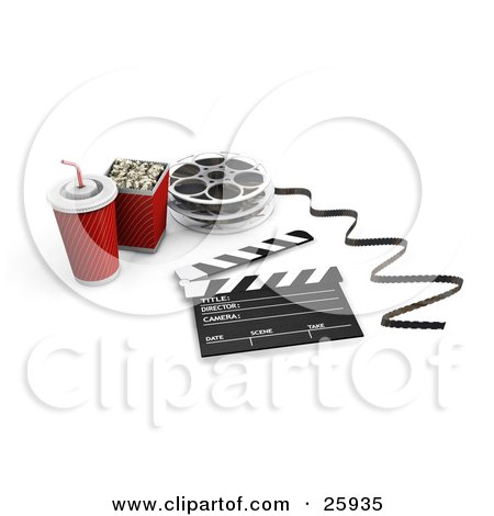 Clipart Illustration of a Soft Drink, Popcorn, Movie Reel And Clapper On White by KJ Pargeter