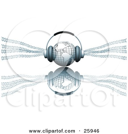 Clipart Illustration of Headphones On Top Of A Blue Globe Featuring The Americas, With Binary Code by KJ Pargeter