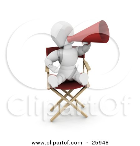 Clipart Illustration of a White Character In A Director's Chair, Shouting Through A Megaphone by KJ Pargeter