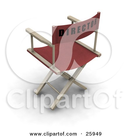 Clipart Illustration of a Red Movie Director's Chair On White by KJ Pargeter